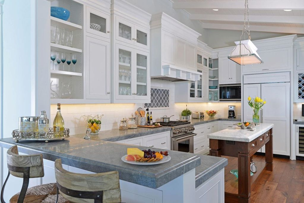 2014 Kitchen Trends Open Shelving Glass Front Cabinets