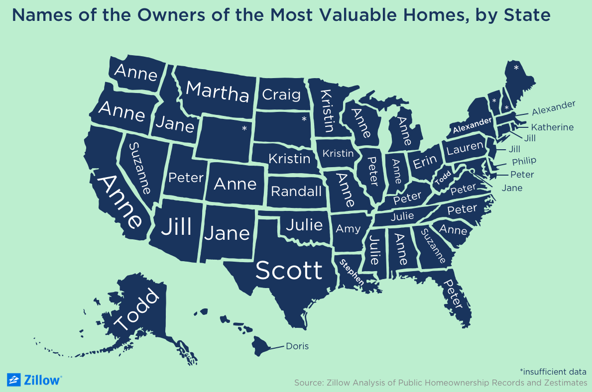 The First Names Who Own the Most Valuable Homes, in Every State