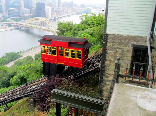 Pittsburgh's century-old cable car, the Duquesne Incline. Source: bobistraveling via Flickr Creative Commons