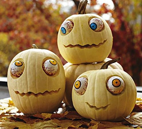 decorating a pumpkin
