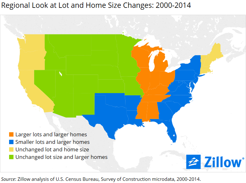 LotAndStructureArea Map PR. New Homes are Getting Bigger  and Lots Are Getting Smaller