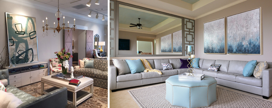 Left: Wesley Hall Showroom, Photo By Kerrie Kelly Design Lab. Right: Nina