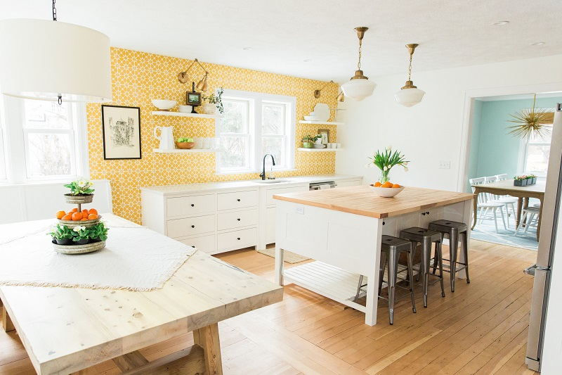 bright and cheerful yellow kitchen