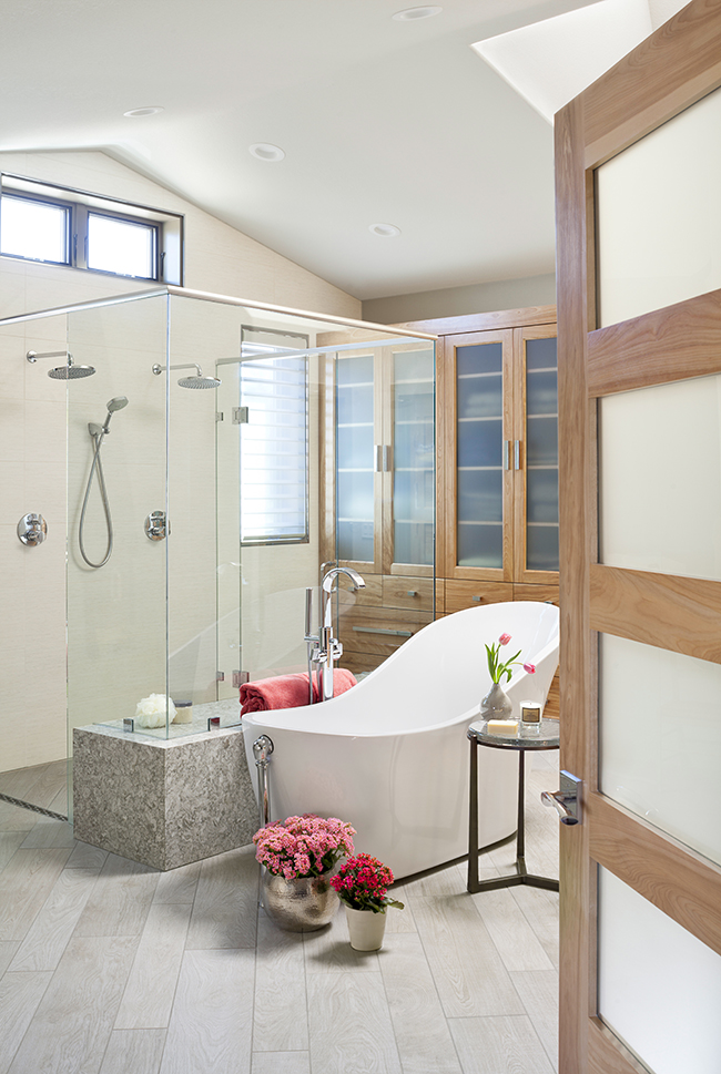 Designer deidre oliver with niwot co firm oliver designs transformed her neighbors 90s master bath into a contemporary spa sanctuary with high end