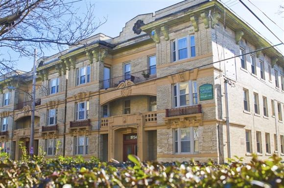 About 4 miles from downtown, a 2-bedroom apartment in this building is asking $1,650 per month.