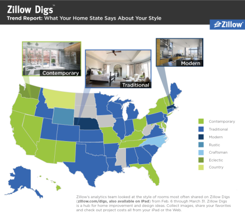 Zillow digs spring trend report ii what 39 s your state 39 s for Zillow design trends 2017