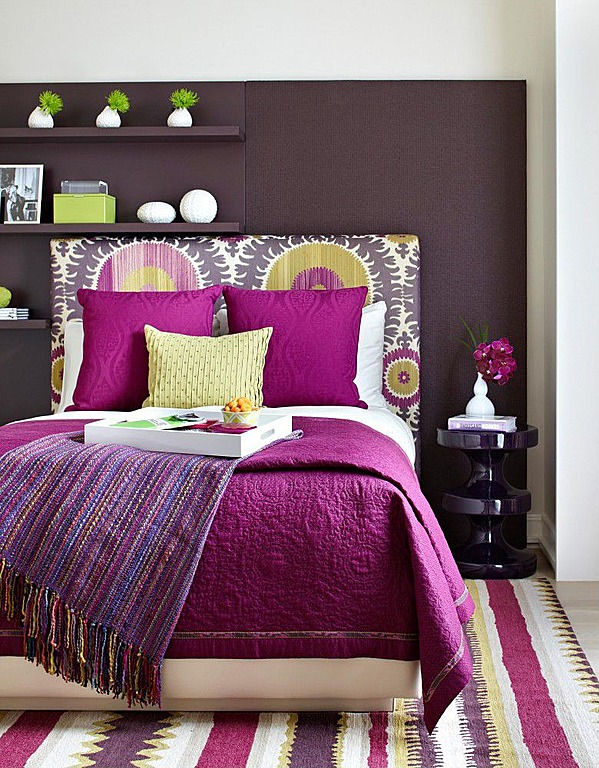 New Shades of pinks and purple are a soothing palette for a bedroom