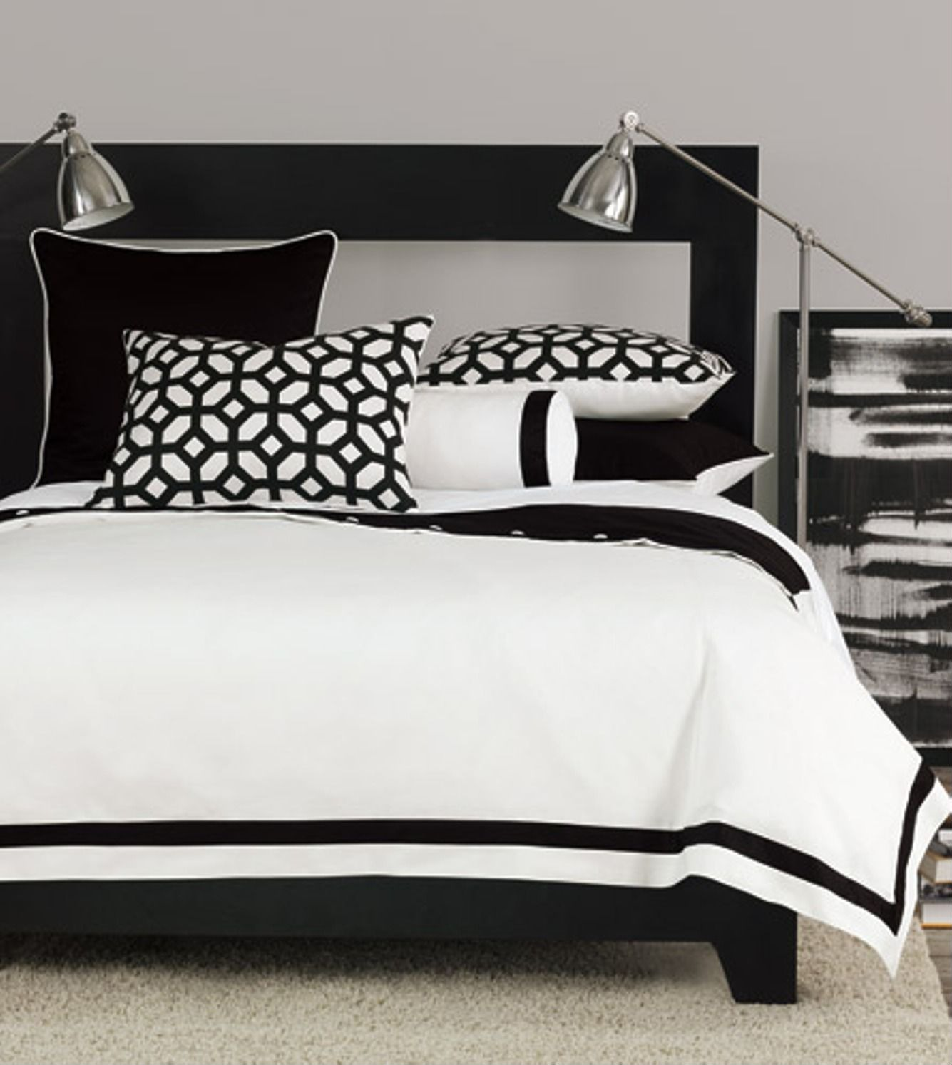 Lovely black and white bedroom