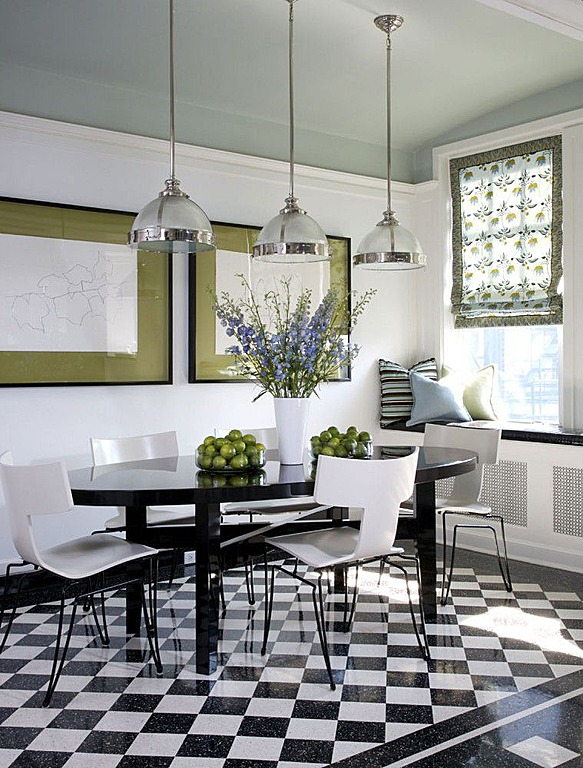 black and white floor tile kitchen. Black and white tiled flooring is a modern addition to this kitchen  designed by Jessica Lagrange Get This Look White Chic