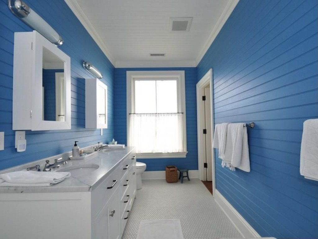 Light blue and white bathroom - Cottage Full Bathroom With Decolav Surface Mount Medicine Cabinet In White