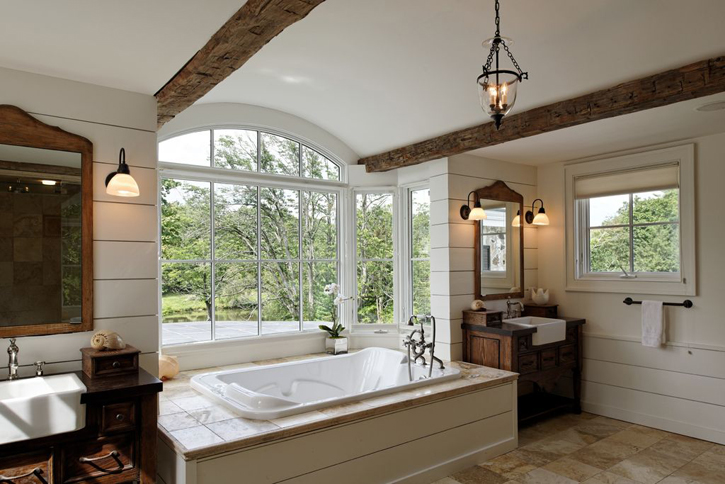 Design trend shiplap all over the house for Country master bathroom ideas
