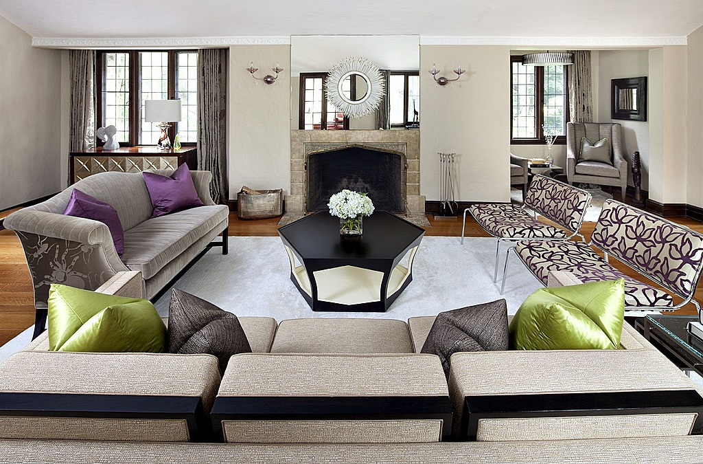 The new neutrals infusing bold color into the home - Grey and purple living room walls ...