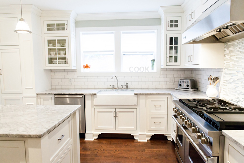 The un boring all white kitchen for Standard white kitchen cabinets