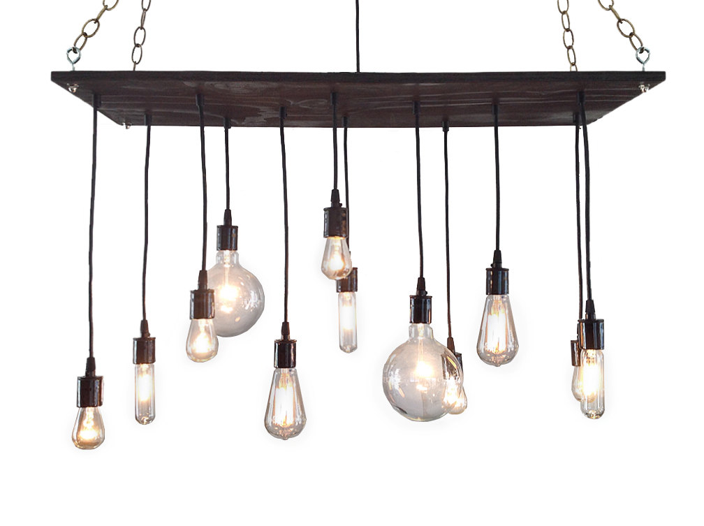 light Reclaimed wood Edison chandelier Etsy