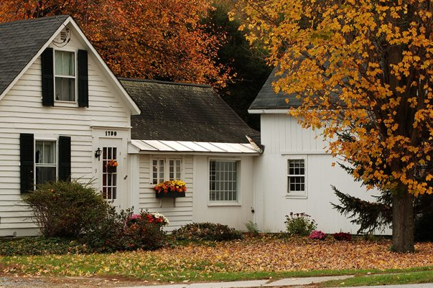 country home with fall foliage