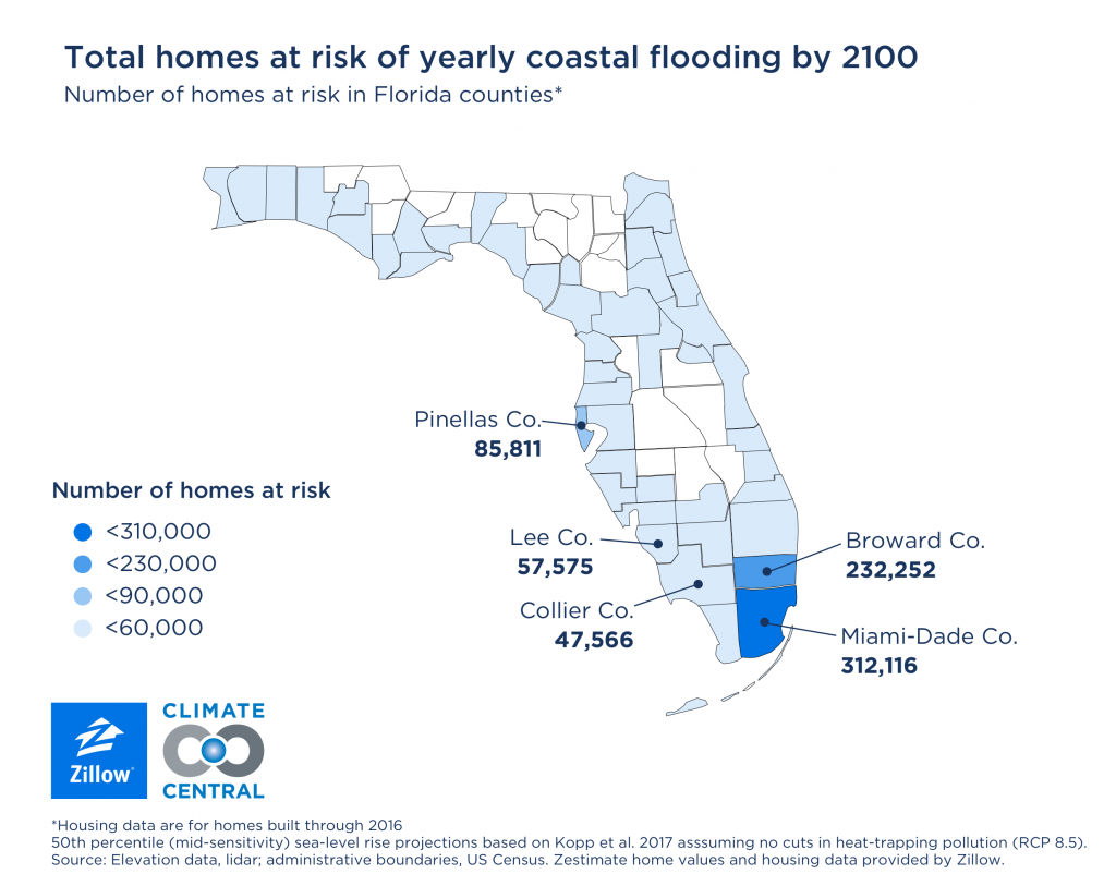 More Than 386,000 Homes at Risk of Coastal Flooding by 2050 - Zillow Zillo Map on