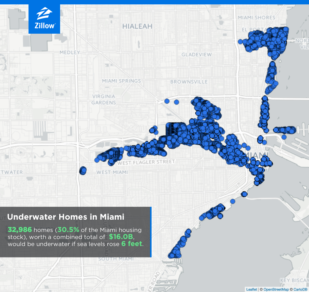 Climate Change And Housing Will A Rising Tide Sink All Homes - Florida map rising sea levels