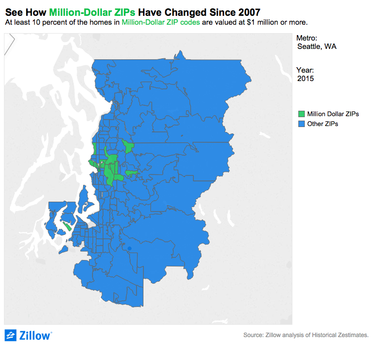 See How MillionDollar ZIP Codes Have Changed Since Zillow - Seattle map zip codes