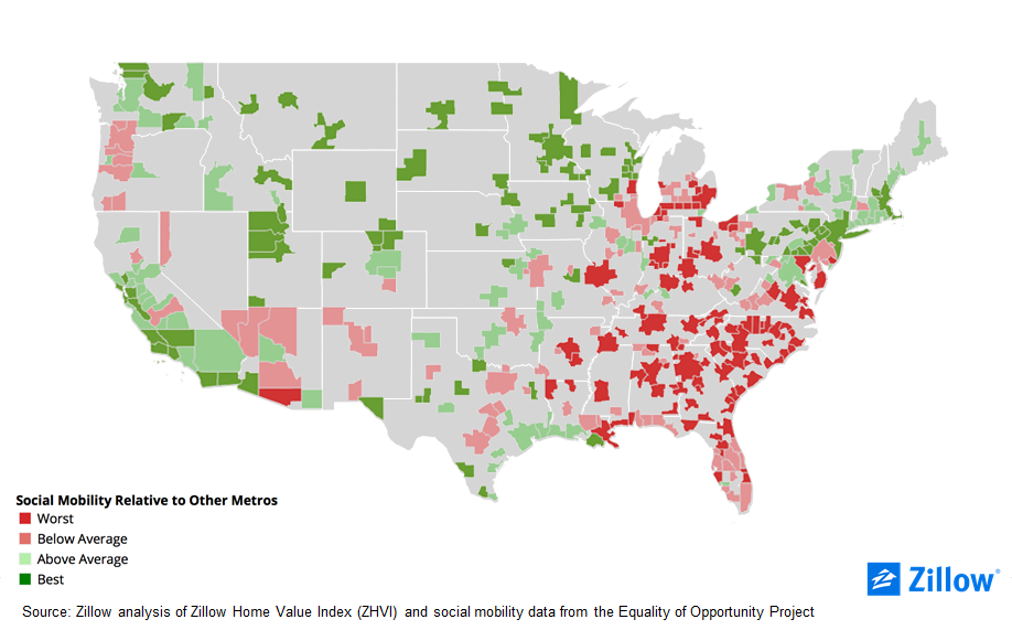 Zillow Home Value Index Map on