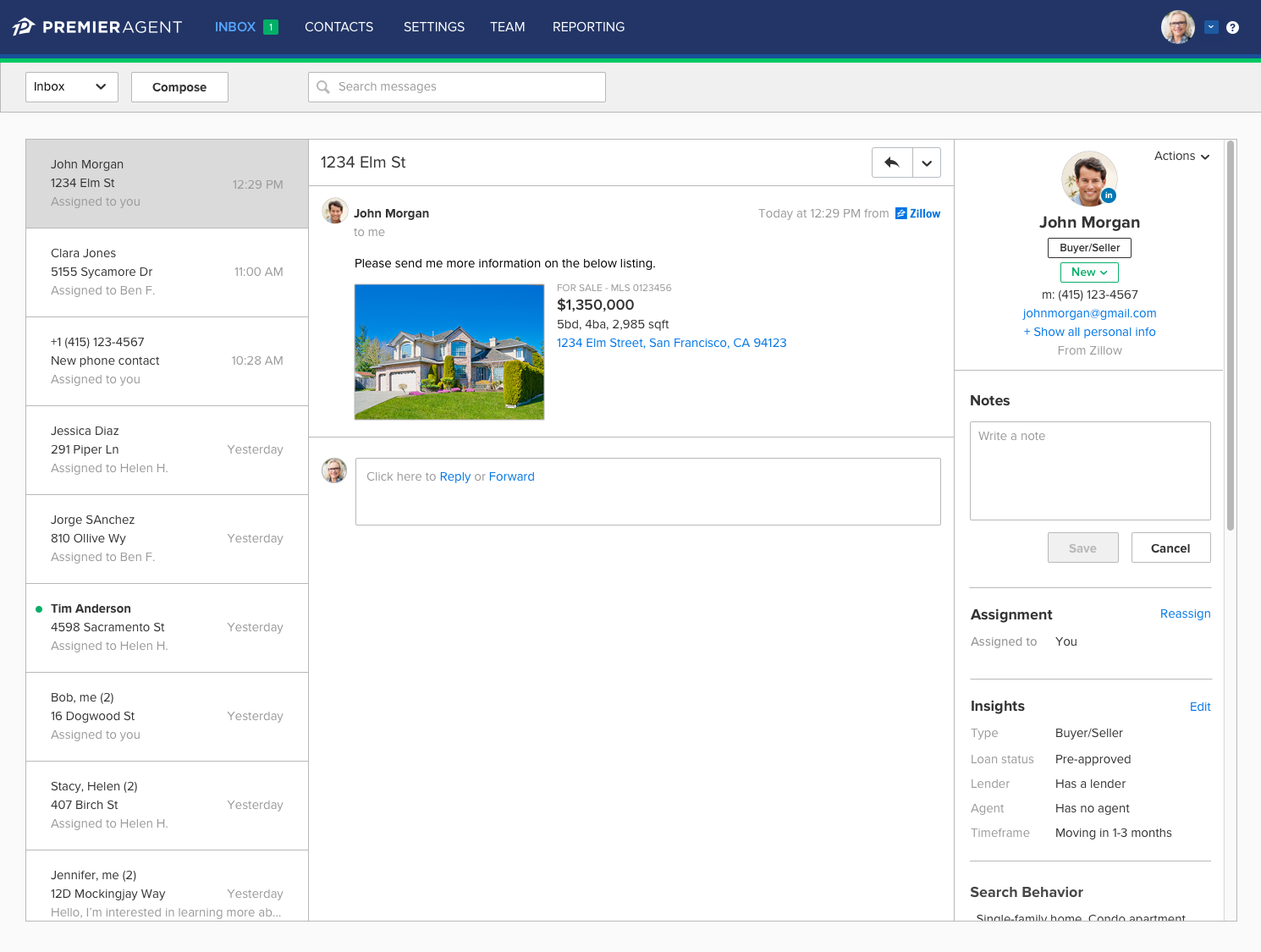 Contact Insights Are Displayed On The Right