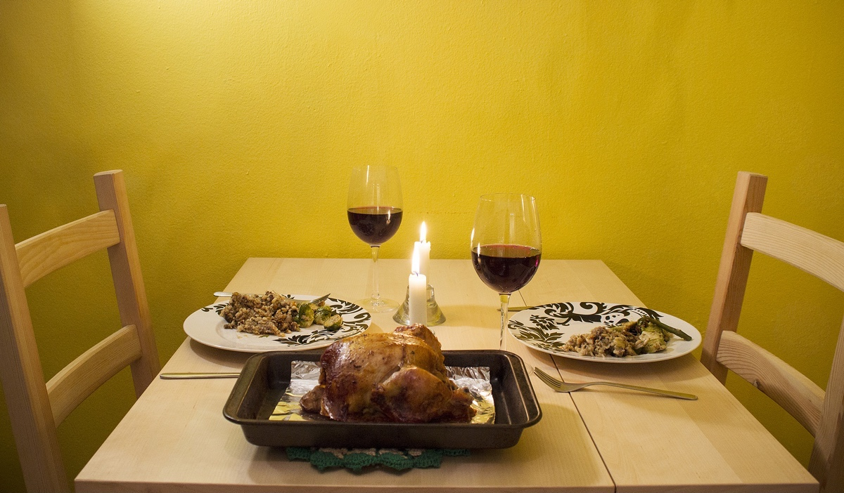 Image of tiny kitchen small thanksgiving dinner