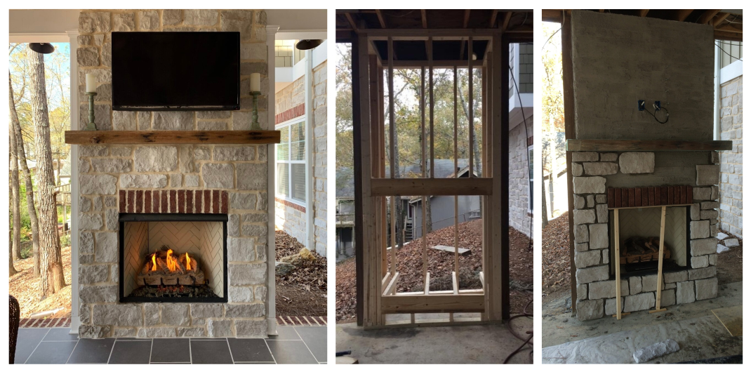how to build an outdoor fireplace wall