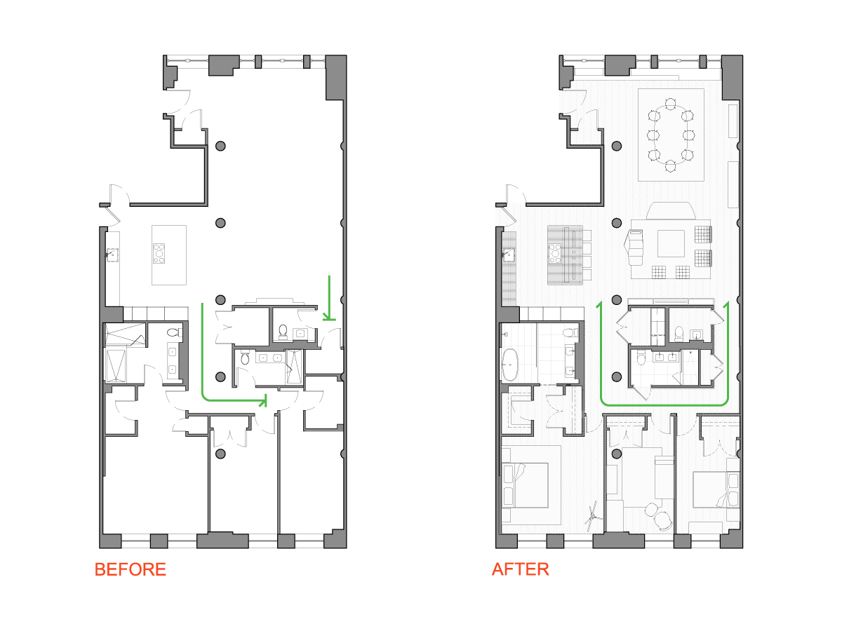 After floor plan for a the floor plans before after tribeca condo comes alive with fresh 100 - Kosher kitchen floor plan ...
