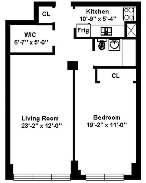 Example Of A Floor Plan For A One Bedroom Apartment. Walls Show A Distinct