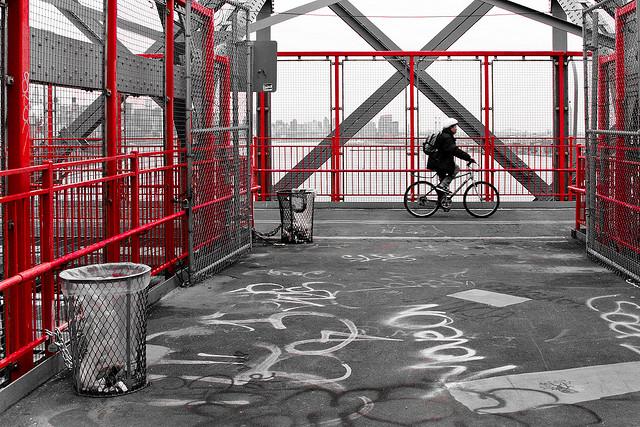 Biking over the Williamsburg Bridge