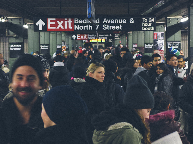 crowds waiting for the L train at Bedford Avenue