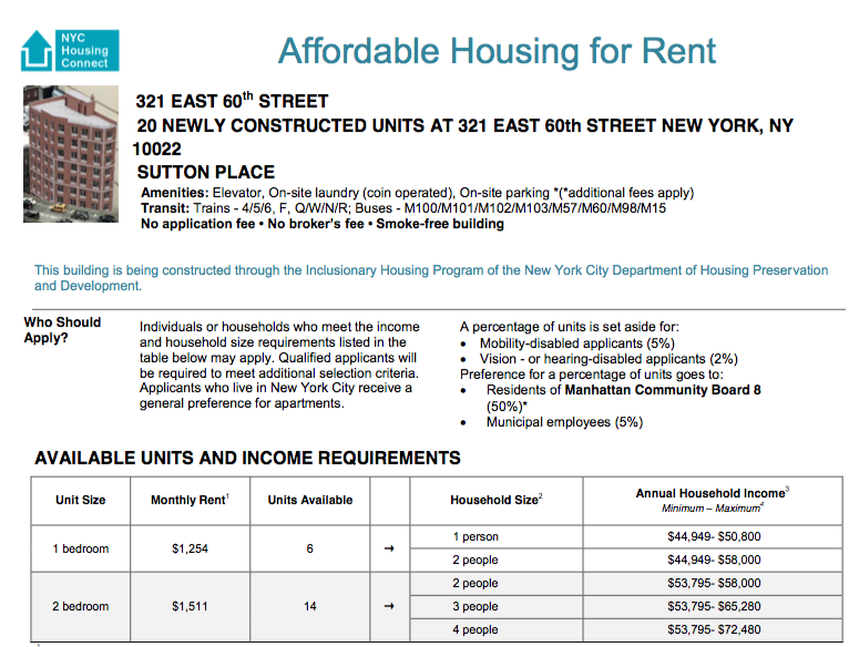 To Apply Online, Please Go To NYC Housing Connect. To Request An  Application By Mail, Send A Self  Addressed Envelope To: 321 E.60th St., ...