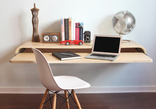 Orange22's floating desk is sleek and minimal to help optimize space.