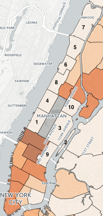 What Are the Safest Areas in NYC? | StreetEasy Map Of Manhattan Neighborhoods on