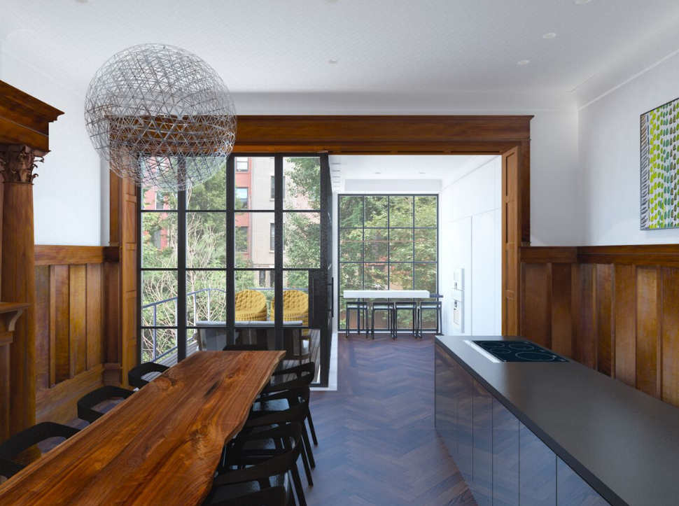 A rendering of a townhouse kitchen in Harlem by Zimmerman Workshop Architecture + Design