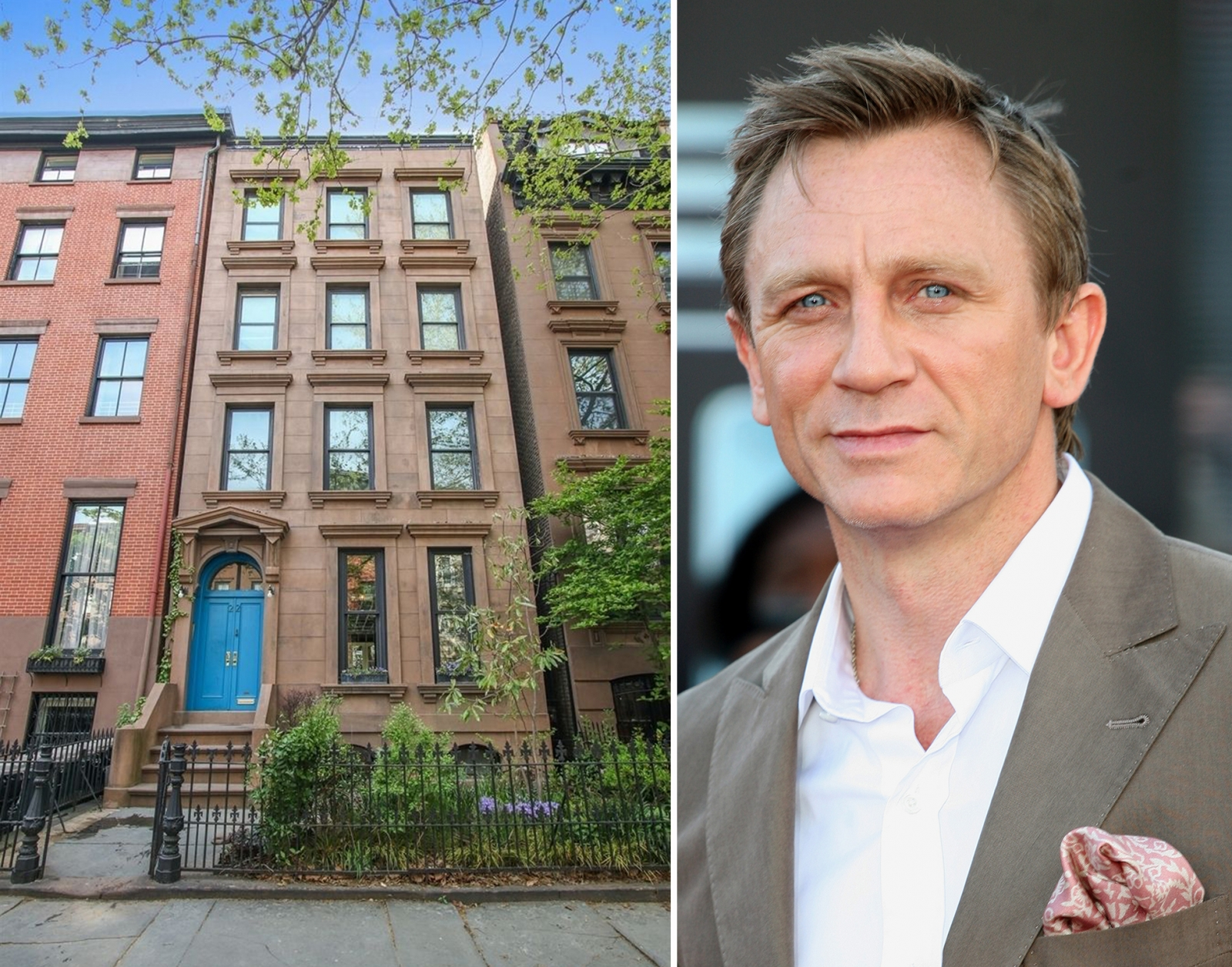 image of actor Daniel Craig and his Cobble Hill townhouse