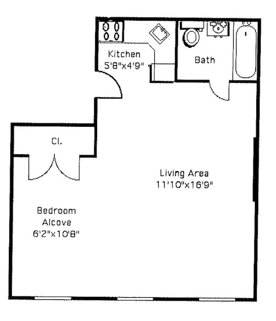 Wonderful A Typical Floor Plan For A Studio Apartment.