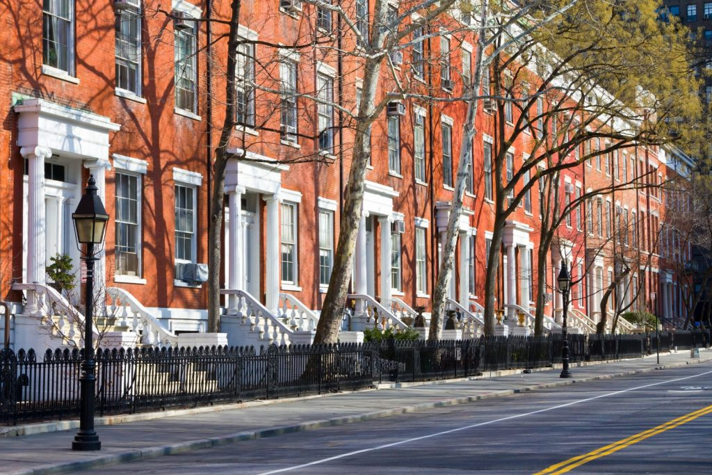 Image Of Greek Revival Townhouses In Greenwich Village, New York