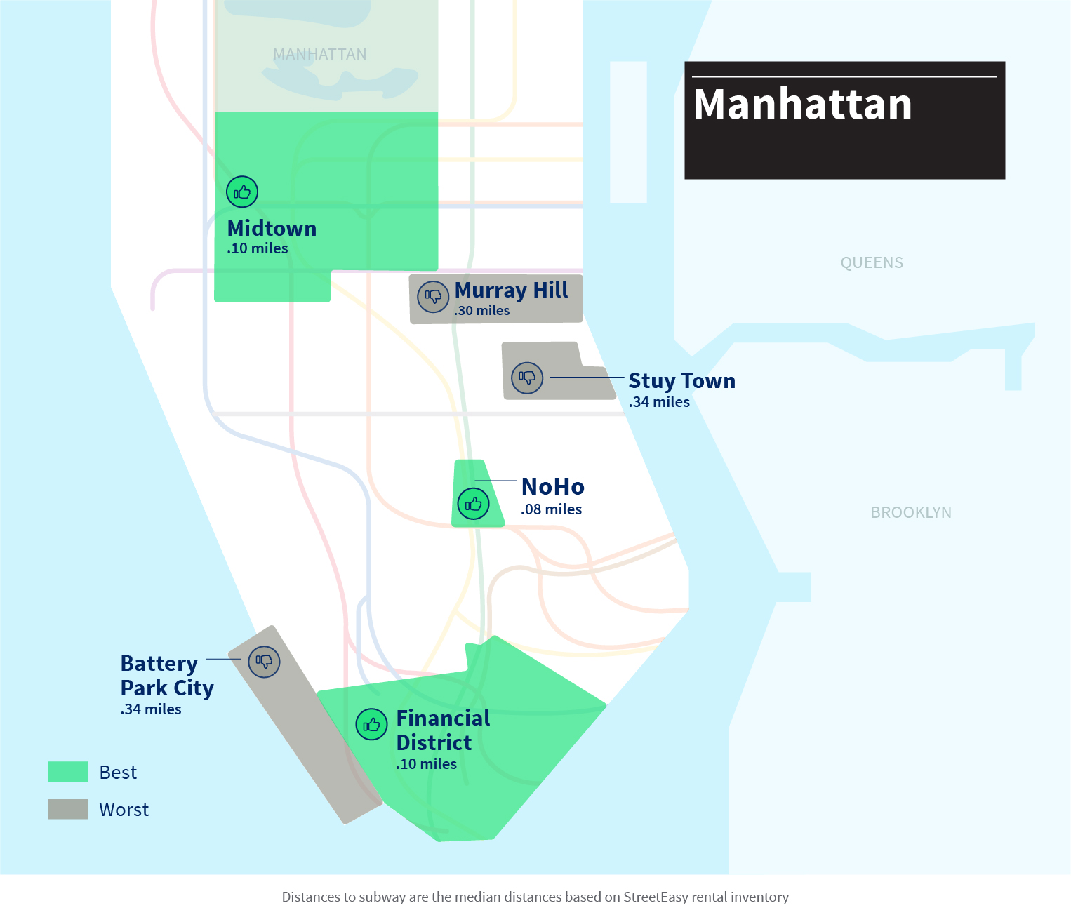 Subway Map In Manhatten.Nyc Subway Neighborhoods Which Have Best And Worst Access Streeteasy