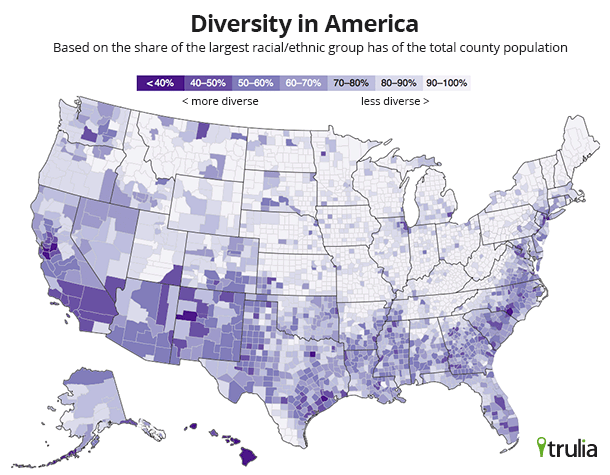 trulia where to find diversity in america map