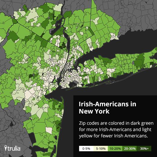 Map of Irish-Americans in New York