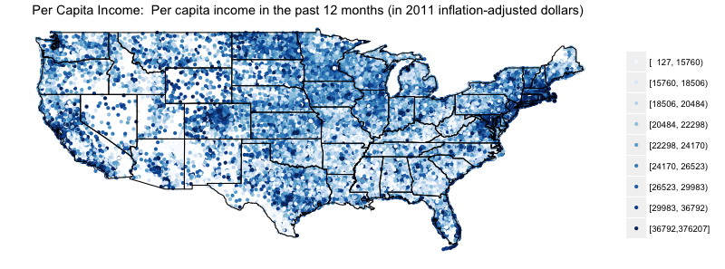 Zip Code Population And Per Capita Income In The 2011 Acs Trulias - Map-of-us-zip-codes