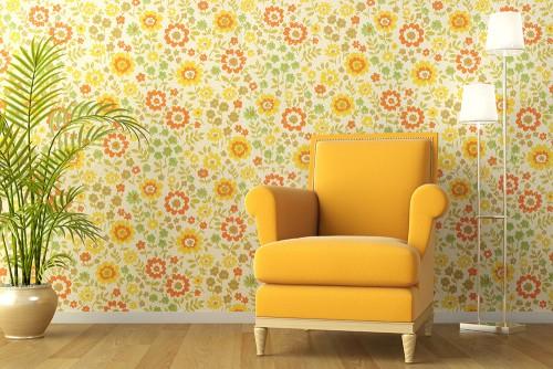 open house yellow chair flower wallpaper 1970s