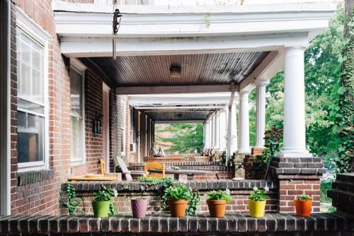 flowerpots on apartment porch