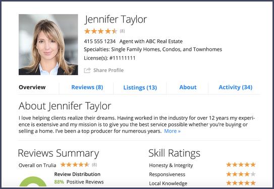 real estate agent bio template