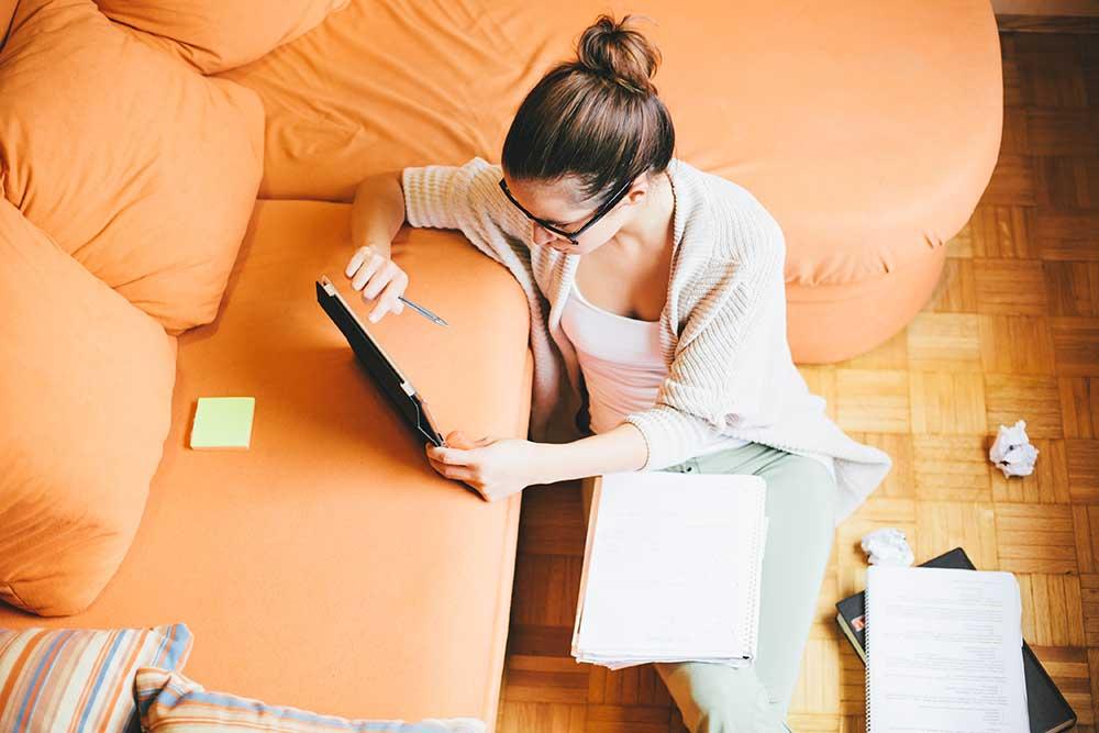 woman refinancing a home