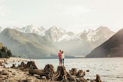 couple standing in gorge looking at the view