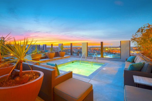 Sunset from apartment Rooftop Pool Milpitas CA
