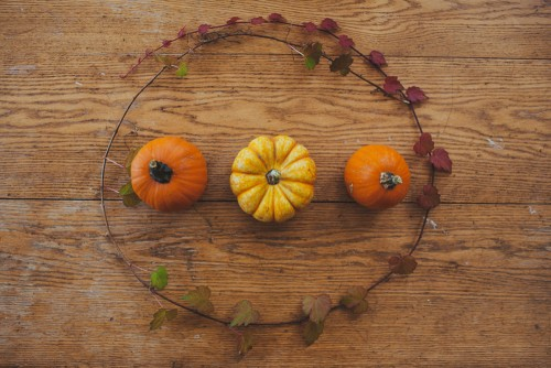 pumpkin arrangement on table