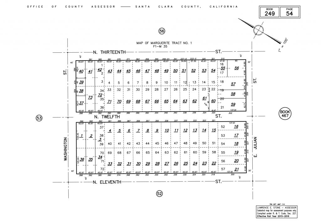 Figure 3: A plat map of Marguerite Tract No. 1 in Santa Clara county, California. An APN for each property is generated by a combination of the Assessor Book Number, Assessor Page Number and the individual parcel number. All homes in this plat map will be of form 249-54-*