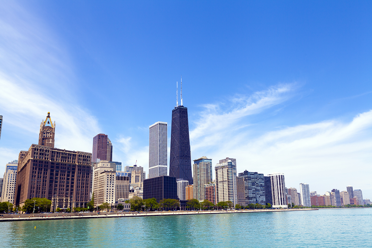 Chicago Skyline With Blue Clear Sky; Shutterstock ID 189356366 l